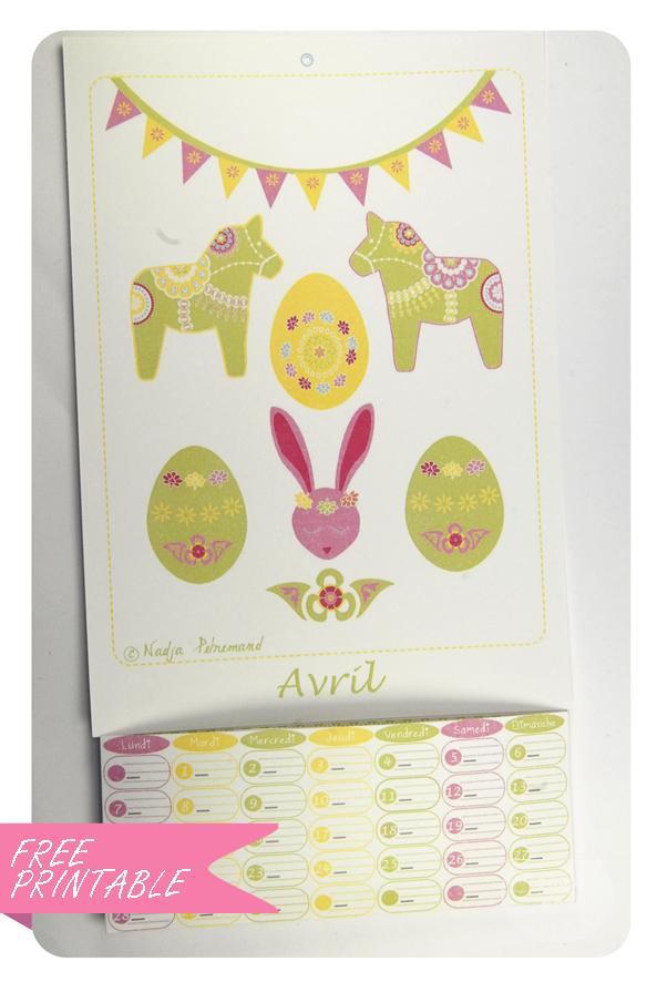 free printable calendar avril 1