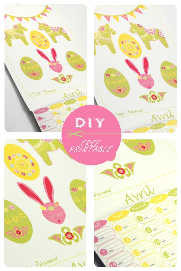 free printable calendar avril 2