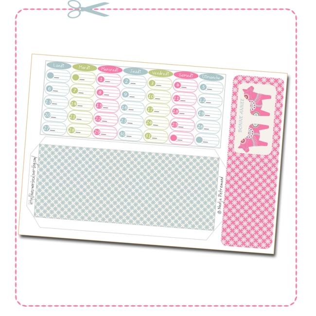 free printable calendar date janvier 2014