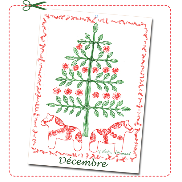 free printable calendar illustration decembre 2014