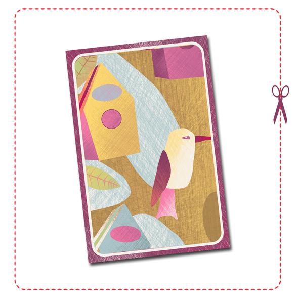 free printable card birdhouse 1