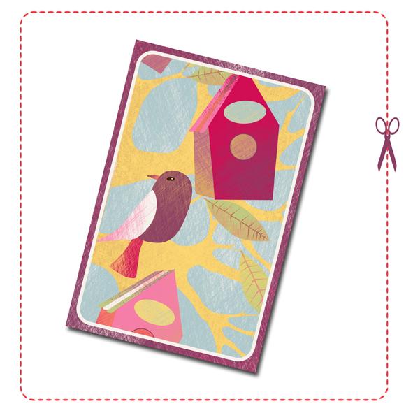 free printable card birdhouse 2
