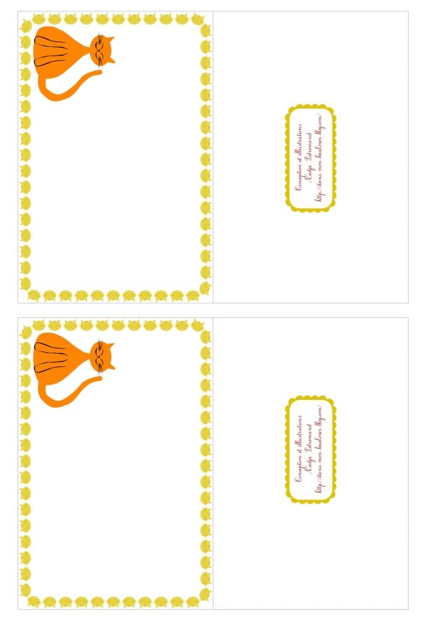 free printable card gratuit carte chat