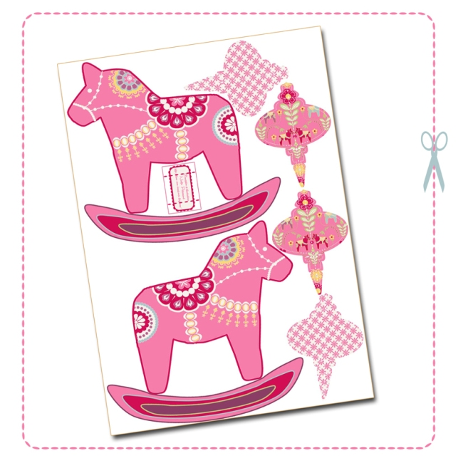 free printable christmas ornement dala horse pink