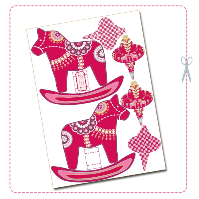 free printable christmas ornement dala horse red