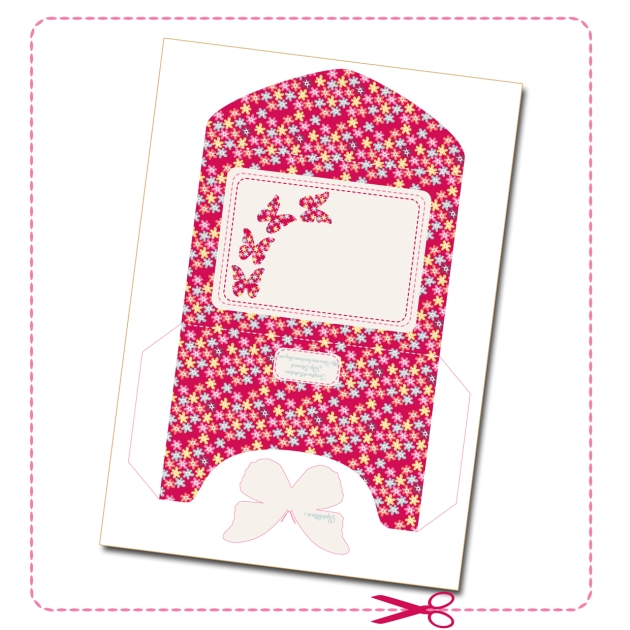 free printable enveloppe 3D butterfly