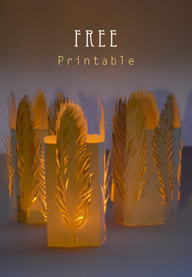 free printable feather tealight holder 1