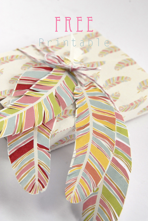 free printable gift box feather pattern 2