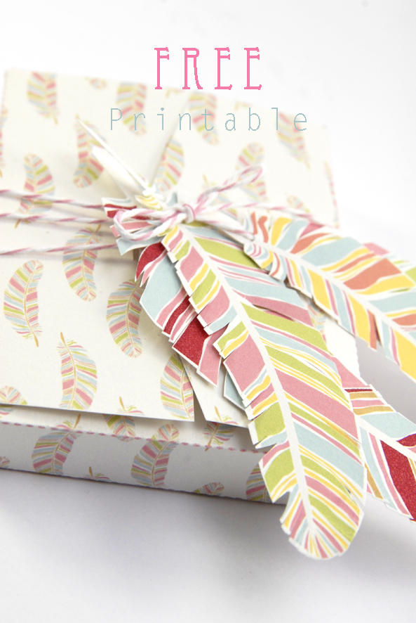 free printable gift box feather pattern 4