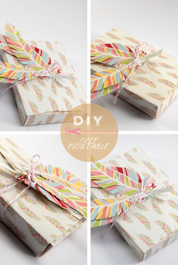 free printable gift box feather pattern 7
