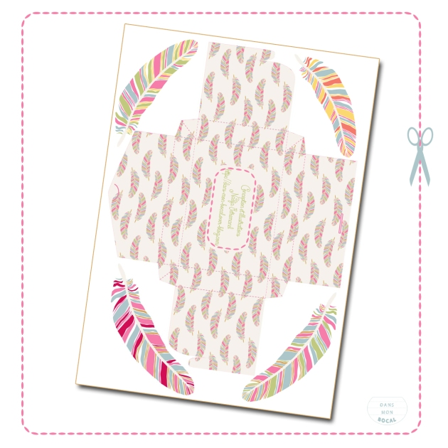 free printable gift box feather pattern 8