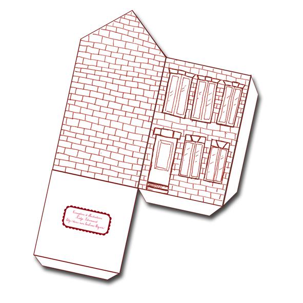 free printable house gift box boite cadeau maison à colorier 1