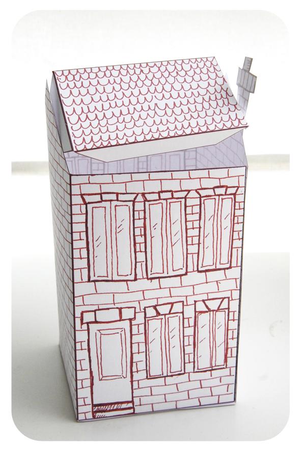 free printable house gift box boite cadeau maison à colorier 3