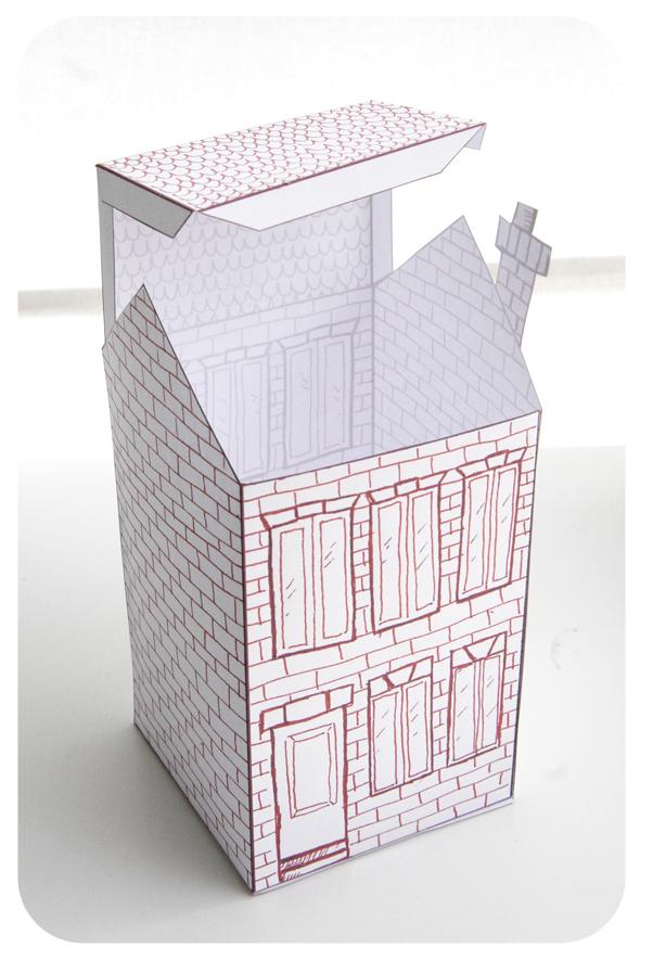 free printable house gift box boite cadeau maison à colorier 4