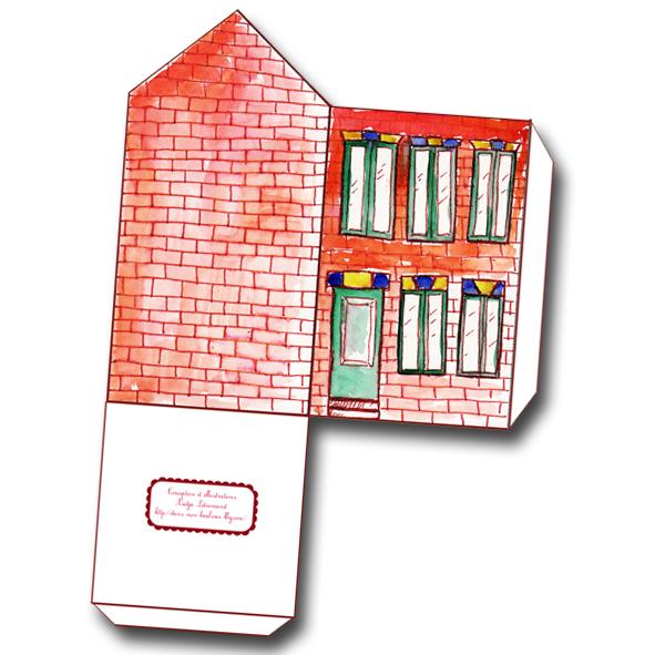 free printable house gift box boite cadeau maison à imprimer 1