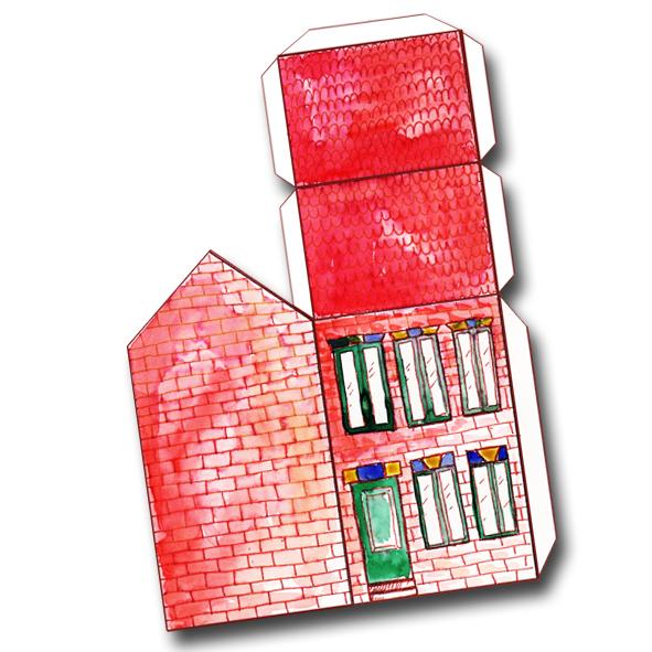 free printable house gift box boite cadeau maison à imprimer 2