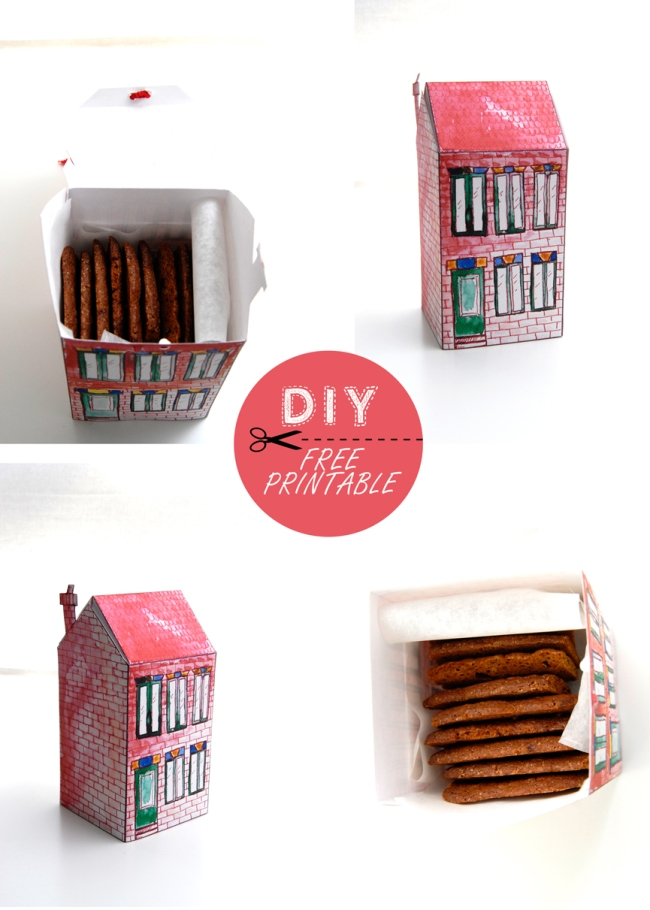 free printable house gift box boite cadeau maison à imprimer 4
