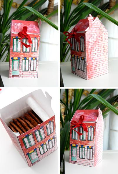 free printable house gift box boite cadeau maison à imprimer 7