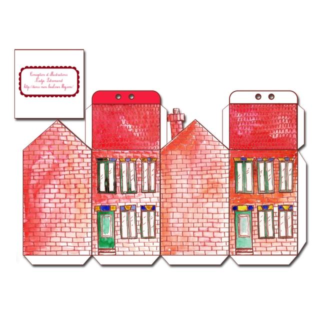 free printable house gift box boite cadeau maison à imprimer mini