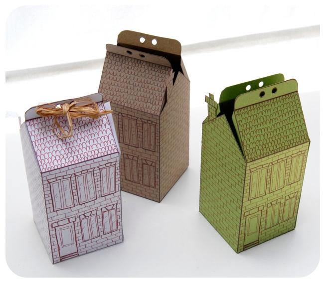 free printable house gift box boite cadeau mini maison à colorier 1