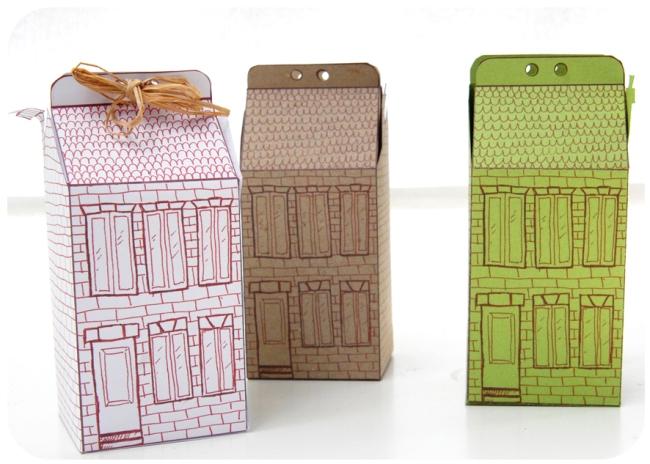 free printable house gift box boite cadeau mini maison à colorier 3