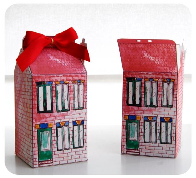 free printable house gift box boite cadeau mini maison à imprimer 4