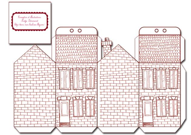 free printable house gift box boite cadeau mini maisons à colorier