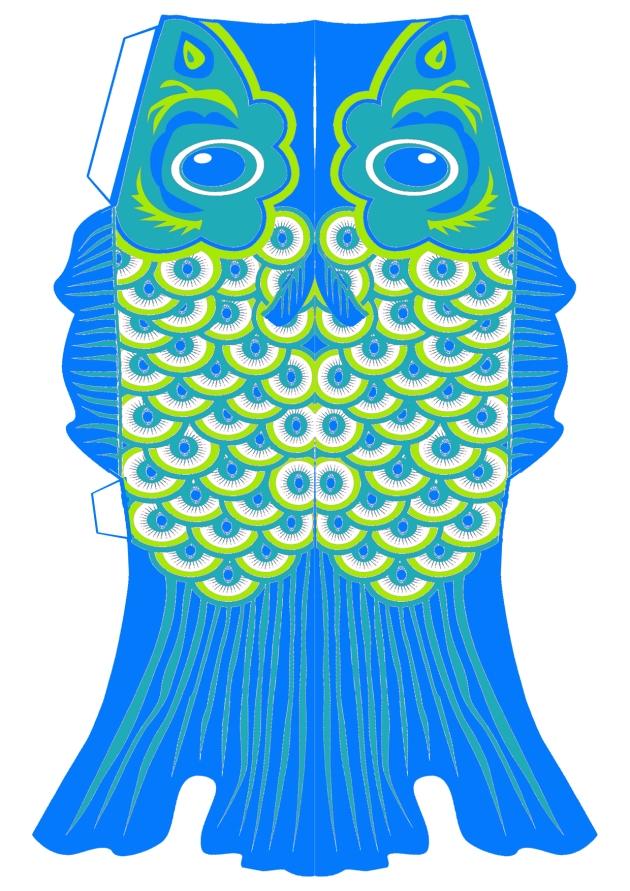 free printable koinobori lampion bleu vert