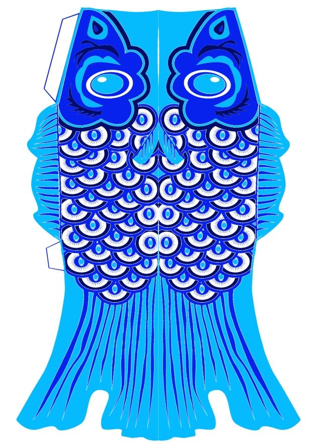 free printable koinobori lampion bleu