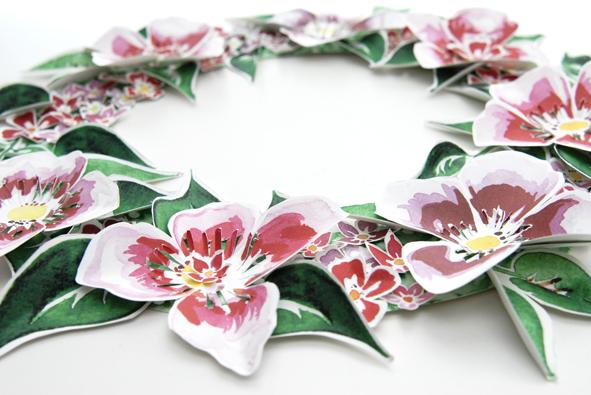 free printable paper wreaths  gratuit couronne de porte fleur 1