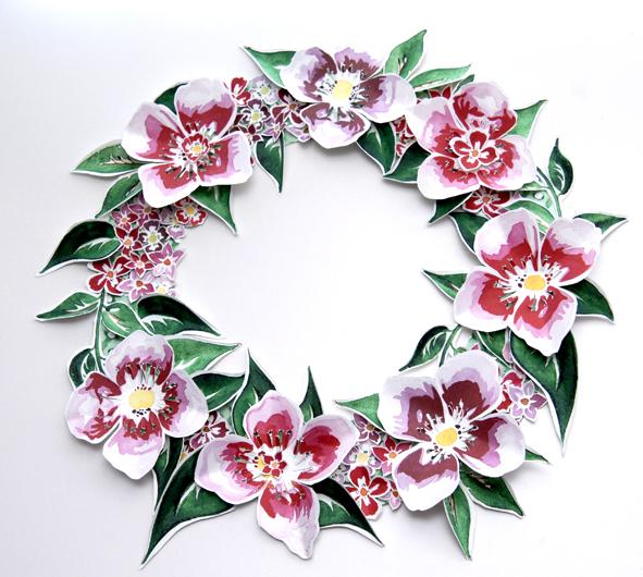free printable paper wreaths gratuit couronne de porte fleur 3