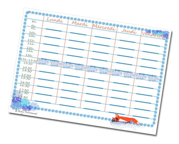 free printable school planning-emplois du temps à imprimer gratuitement bleu