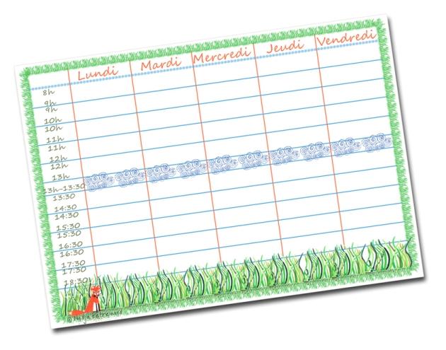 free printable school planning-emplois du temps à imprimer gratuitement