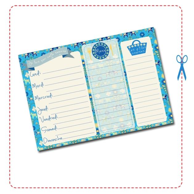 free printable semainier bleu gratuit