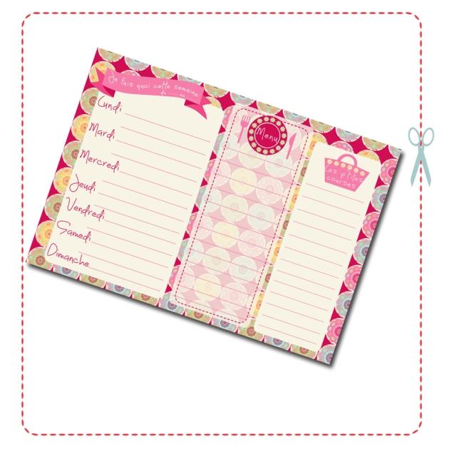 free printable semainier rose gratuit