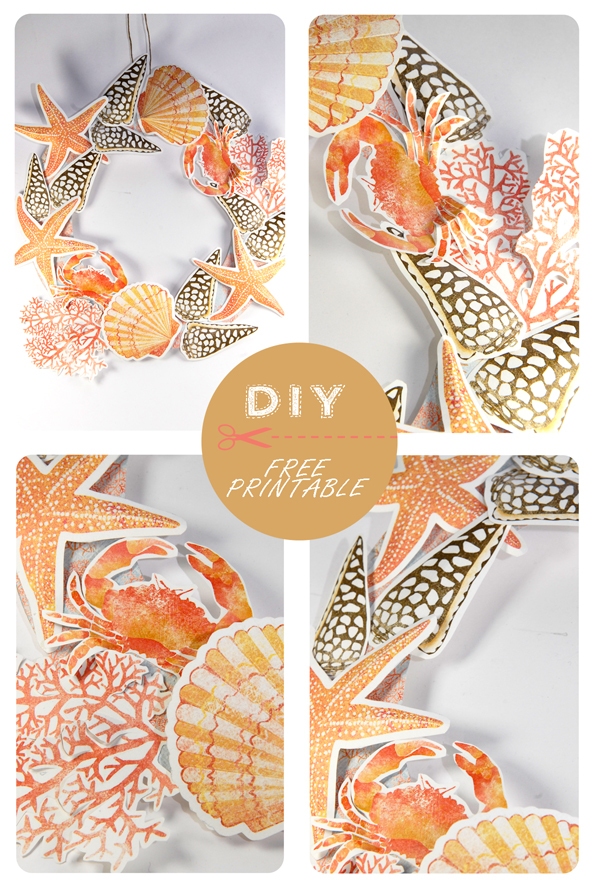 free printable shell and coral wreath 4