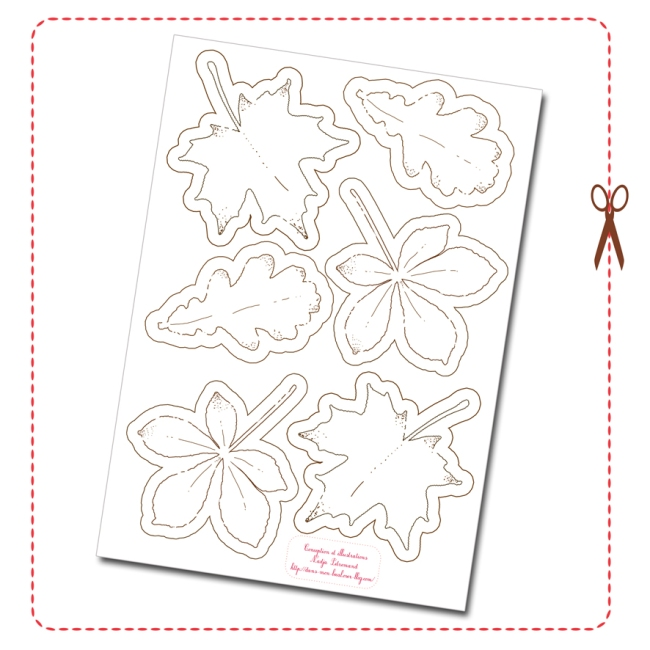 free printable tree leaf bunting gratuit guirlande feuille d'automne coloriage