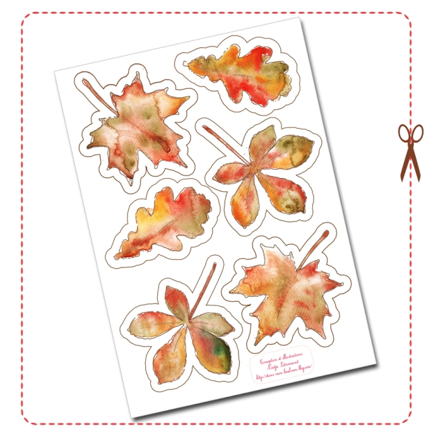 free printable tree leaf bunting gratuit guirlande feuille d'automne