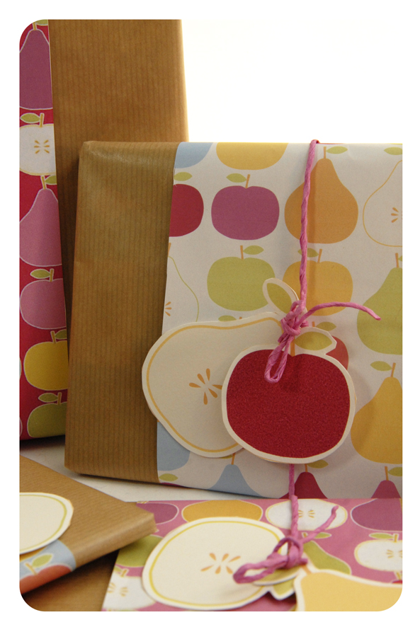 free printable wrap paper apple pear 2
