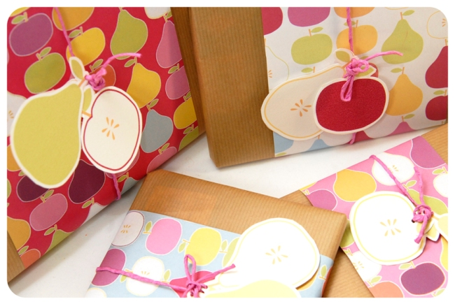 free printable wrap paper apple pear 3