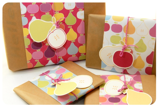 free printable wrap paper apple pear 4