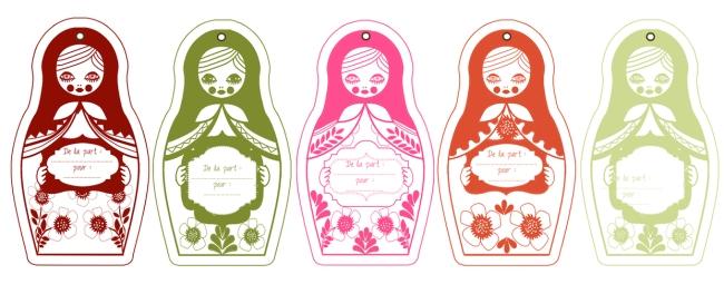 gratuit étiquette cadeau poupée russe-printable label gift 1
