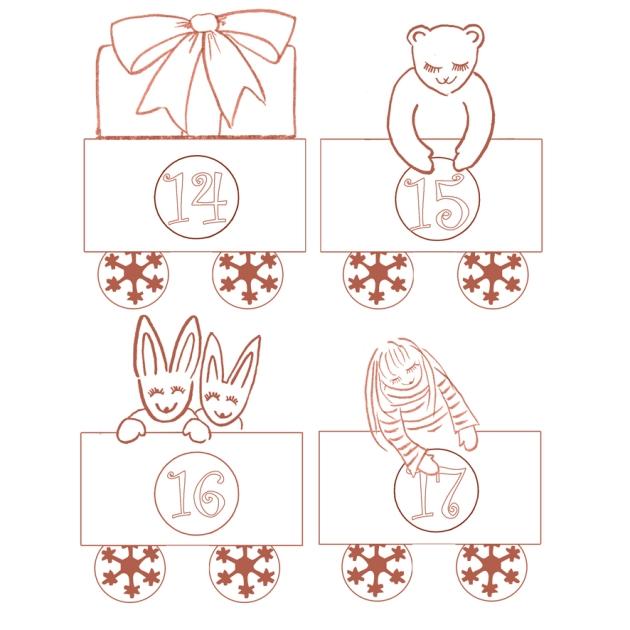 gratuit calendrier de l'avent à colorier petit train - free printable advent calendar  4