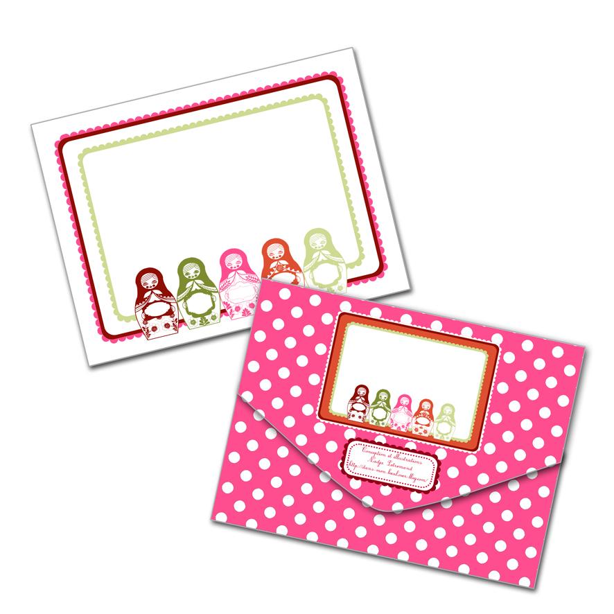 gratuit enveloppe motif poup e russe matriochka free printable. Black Bedroom Furniture Sets. Home Design Ideas