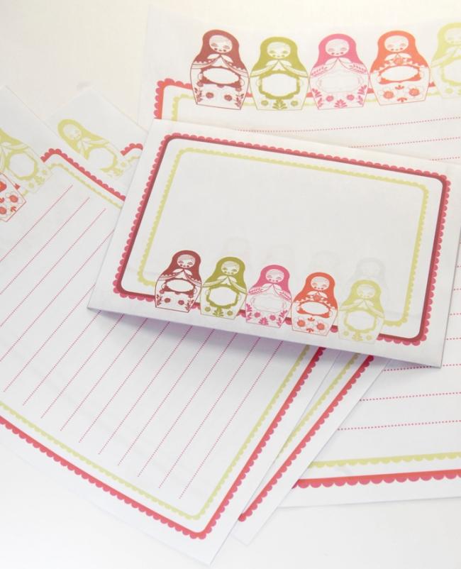 gratuit papier à lettre motif poupée russe matriochka free printable stationery visuel 1