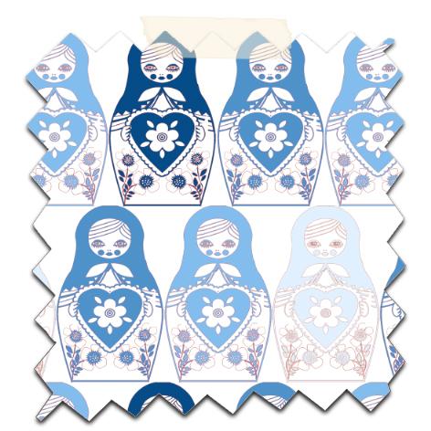 gratuit papier scrapbooking motif poupée russe bleu Free printable patterned papers