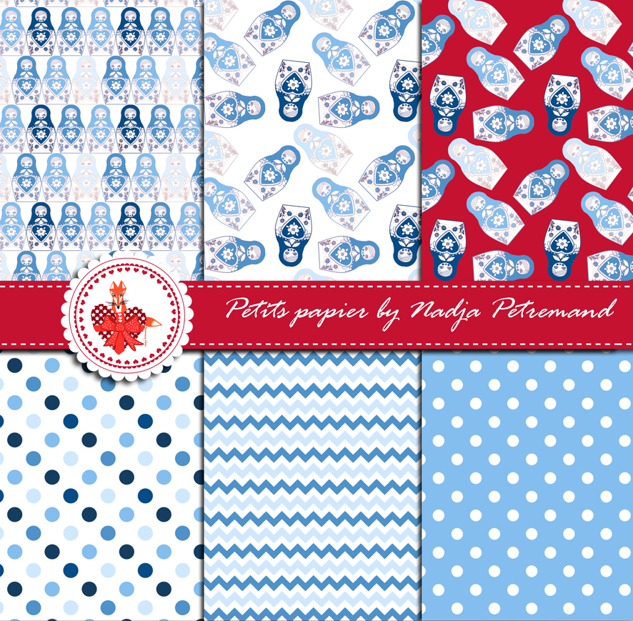 gratuit papier scrapbooking motif poupée russe bleu présentation ...