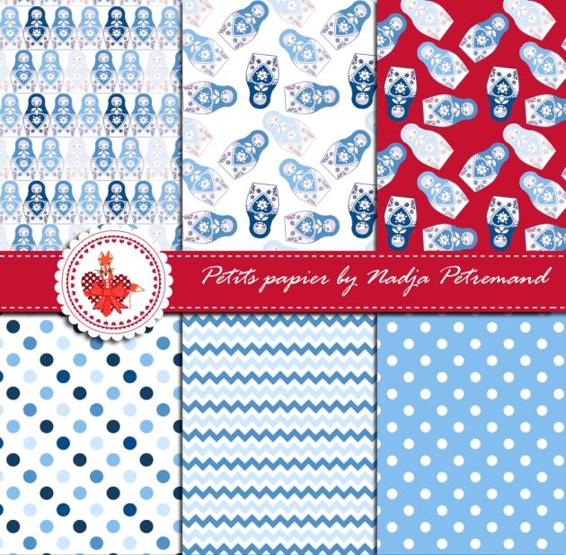 gratuit papier scrapbooking motif poupée russe bleu présentation Free printable patterned papers