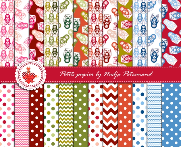 gratuit papier scrapbooking motif poupée russe Free printable patterned papers