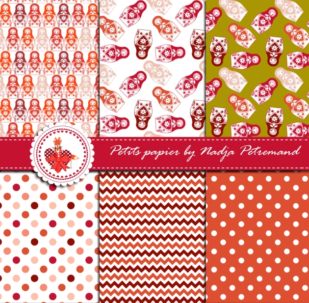 gratuit papier scrapbooking motif poupée russe rouge présentation Free printable patterned papers